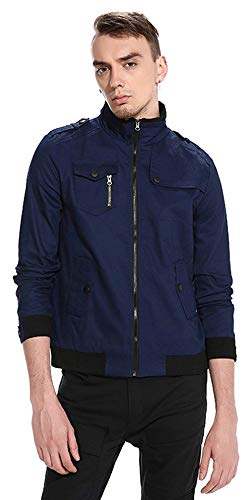 Unisex Hip Hop Urban Harrington Chaqueta Bomber Basic Simple Estilo Jacket Chaquetas De Béisbol Long Sleeve Outerwear (Color : 5-Navy, Size : S)