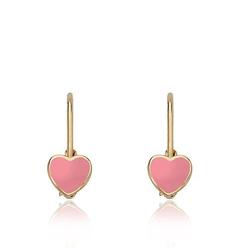 Little Miss Twin Stars Kids Earrings - 14k Gold Plated Pink Enamel Heart Leverback Girls Earrings For Kids Red Heart Charms Nickel Free Earrings For Sensitive Ears Hypoallergenic Earrings For - Earrings Star Pierced