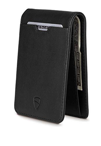 Vaultskin MANHATTAN Slim Bifold Wallet with RFID Protection for Cards and Cash – Top Quality Italian Leather - Ultra Thin Front pocket Holder Designed For Up To 8 Cards and Cash (Black)