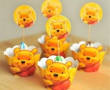 Winnie the Pooh Bear Cupcake Toppers and Wrappers Birthday Party Kit (Makes 12)