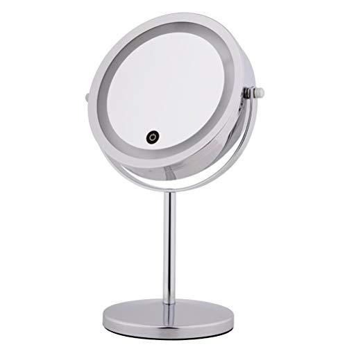 Makeup mirror 7 Pulgadas 10X Espejo de Maquillaje, Touch dimming LED con luz de Escritorio de Metal Doble Cara Espejo de...