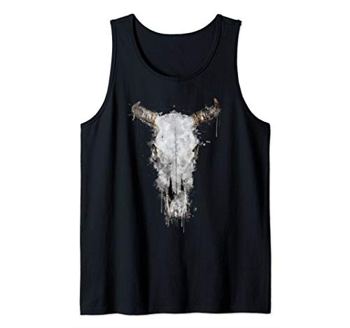 Watercolour Animal Skull Artsy Horror Painting  Tank Top