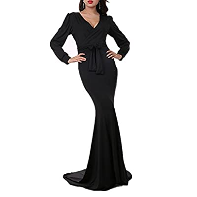 Riveroy Women's Mermaid V-Neck Long Sleeve Party Maxi Dress With Belt