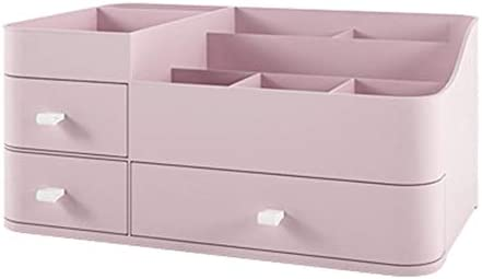 ZEZHE メイクアップオーガナイザー、家庭用化粧品収納ボックス引き出しタイプ大型仕上げの口紅ブラシスキンケアプロダクト寮ドレッシングテーブルラック (Color : Pink)