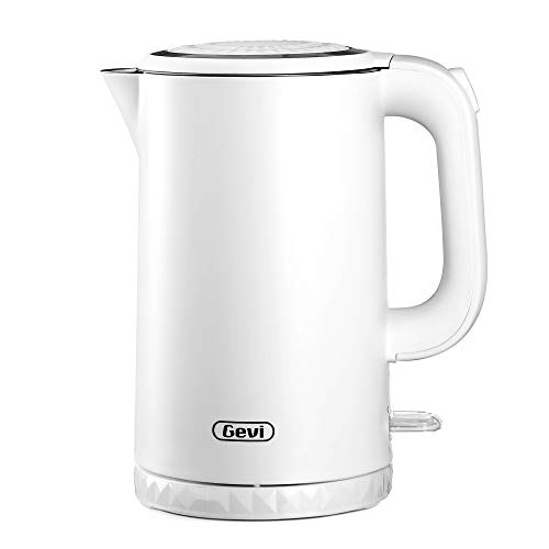 Electric Kettle, Gevi 1.7L Double Wall 100% Stainless Steel Tea Kettle, Cool Touch & Cordless Electric Kettle with Overheating Protection, 1500W Hot Water Boiler (BPA-Free) with LED Indicator