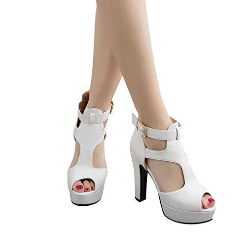 (MORNISN Women's peep Toe Platform high Heel Sandals Buckle T-Strap Pumps Wedding Party Shoes)