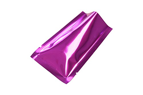200PCS Glossy Purple/Rose Metallic Foil Open Top Mylar Bags Perfect for Sample Giveaway 6x9cm -
