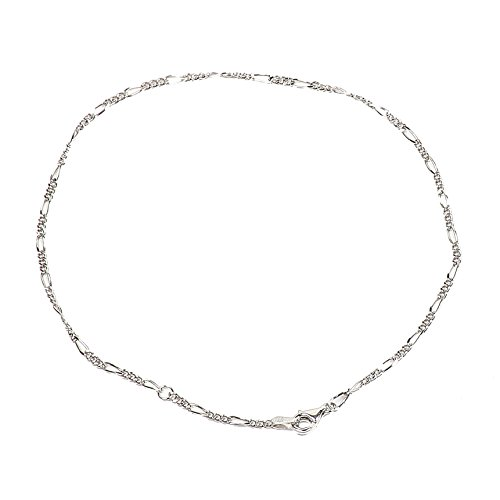 925 Sterling Silver 1.80 mm Diamond-Cut Figaro Chain Anklet with Pear Shape Clasp-Rhodium ()