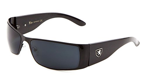 KHAN Metal Wrap Around Sunglasses Dark Lens 67mm Cycling Hiking Racing Mens (Black, - Metal Wrap Around Sunglasses