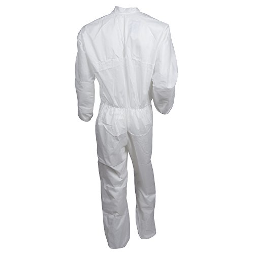 Kleenguard A10 Light Duty Coveralls (10616), Zip Front, Elastic Wrists, Breathable Material, White, 2XL, 25 / Case by Kimberly-Clark Professional (Image #1)