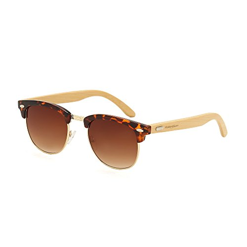 Sunny&Love Unisex Wooden Bamboo Sunglasses Temples Half Frame - Sunglasses Cheap Vogue