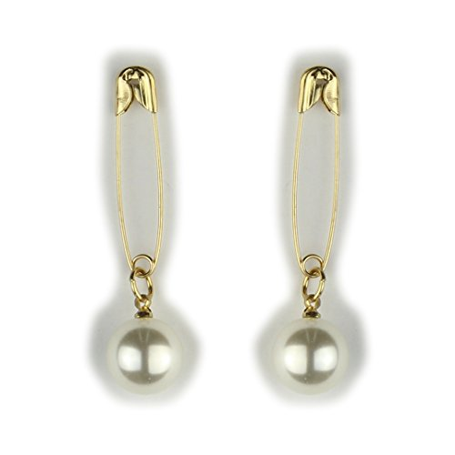 Dangling Safety Pin (Pearl Safety Pin Style Gold Fashion Drop Earrings)
