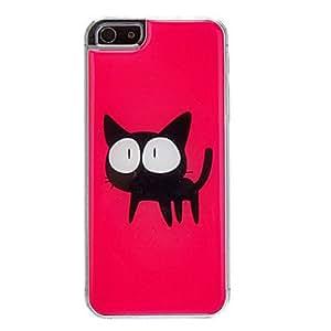 GONGXI-Gatito negro con el patrón de los ojos grandes del estuche rígido para el iPhone 5/5S Epoxi