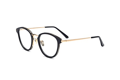 HEPIDEM Acetate Round Optical Glasses Frame Prescription Myopia Spectacles 70043 (Black - Designer Mens Spectacles