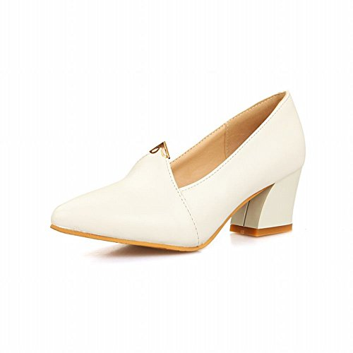 Carol Shoes Women's Western Concise Mid Heel Pointed Toe Court Shoes White MRr1b7tJXY