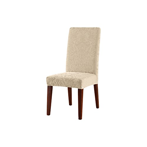 (SureFit Stretch Jacquard Damask - Shorty Dining Room Chair Slipcover  - Oyster (SF40120))