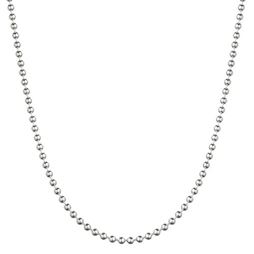 (Sterling Silver 3mm Italian Ball Bead Chain Necklace - 16