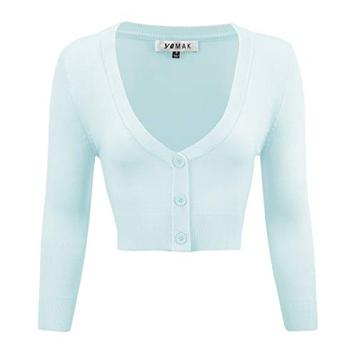 YEMAK Women's Cropped 3/4 Sleeve Bolero Button Down Cardigan Sweater CO129-LBL-M Light Blue