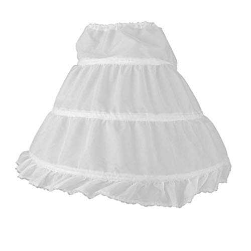 NNJXD Girls' 3 Hoops Petticoat Full Slip Flower Girl Crinoline Skirt Suits for 5-15 Years White