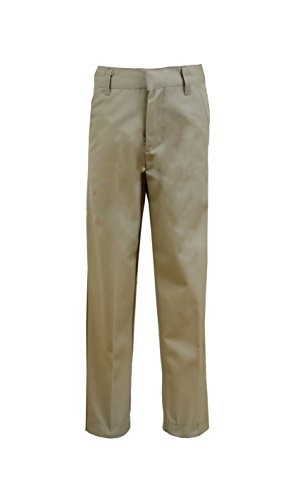 Galaxy by Harvic Boys Double Knee Slim Fit School Uniform Pants - 4 Pockets - Khaki, Size 20 ()