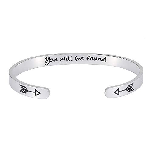 Inspirational Gift Bracelet Cuff Bangle - Mantra Quote You Will Be Found Stainless Steel Engraved Motivational Friend Encouragement Jewelry for Women Teen Girls with Secret Message Hidden Arrows