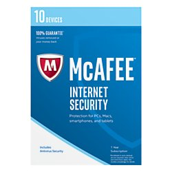 McAfee(R) Internet Security 2017, For 10 Devices, For PC/Mac, 1-Year Subscription, Product Key Card
