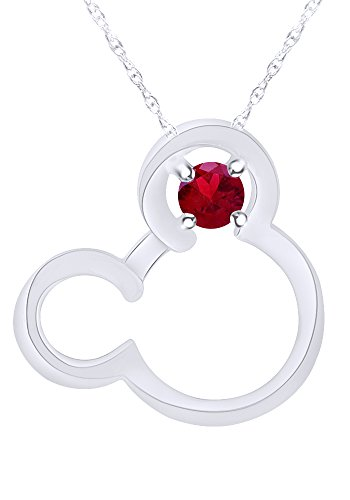 Wishrocks Round Cut Simulated Ruby Mickey Mouse Pendant Necklace in 10K Solid White Gold