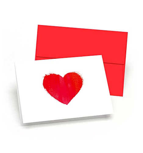 Little Love Notes:I HEART YOU Brush Art Design - Set of 8 Blank Note Cards with Red Envelopes - Perfect Valentines Day Cards for Him or Her - Made in the USA By Palmer Street Press