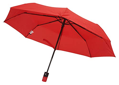TAHARI Automatic Open & Close Compact Travel Umbrella With Contour handle for Men and Women (Red)