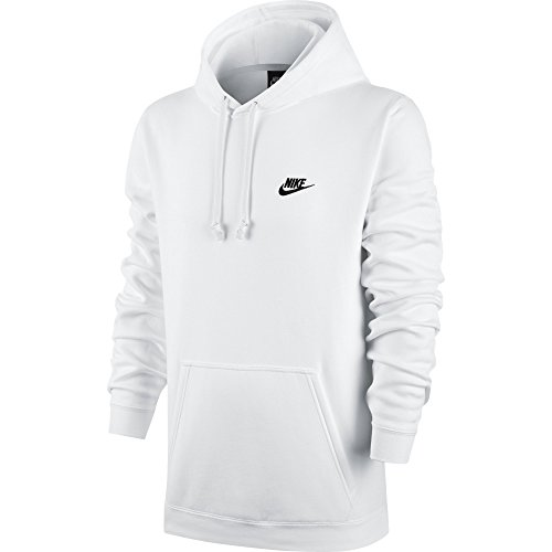 (Men's Nike Sportswear Club Pullover Hoodie, Fleece Sweatshirt for Men with Paneled Hood, White/White/Black, S)