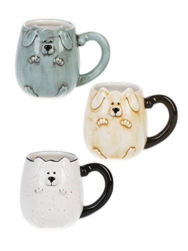 - Dog Bas Relief Glossy Multicolored 20 ounce Dolomite Ceramic Mugs Set of 3