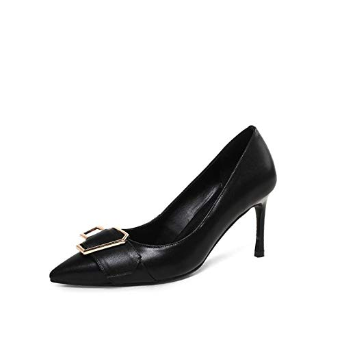 Women's Spring Black ZHZNVX Fall Sequin Leather Pump Stiletto amp; Shoes Nappa Heels Toe Pointed Basic Heel Black Almond dxxHpqT