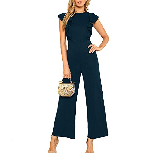 ZQISHMAO Women Elegant Playsuit Summer Short Sleeves Party Wide Leg Jumpsuit Romper with Belt (B- Navy, S)