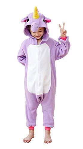 Kids Unicorn Cosplay Onesies Costume,Child Cute One Piece Animal Pyjamas Purple 8-10 -