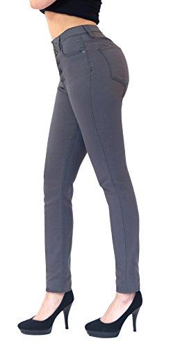 Five Petite Jeans Button (HyBrid & Company Womens Super Stretch 5 Button Hi-Waist Skinny Jeans Gunmetal 1)