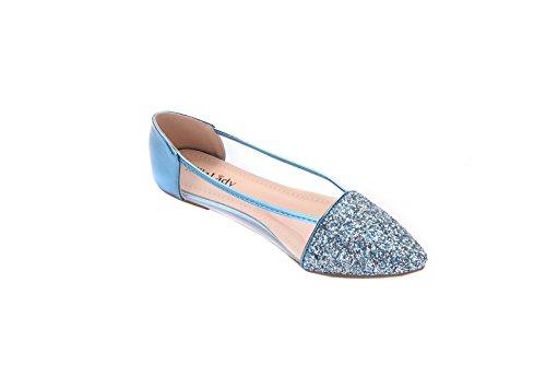 Mila Lady Mavis Fashion New Scintillanti Scarpe Da Balletto Fannullone Glitter Scintillante. Blu