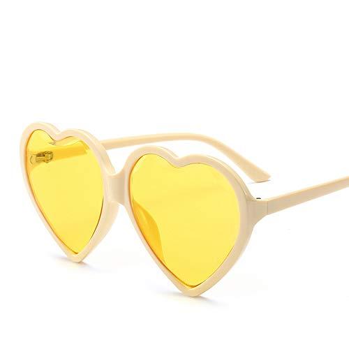 (Big Box Trend Love Sunglasses Black Red Yellow Sunglasses Female Diamond Cut Edge Heart Type Ladies Sunglasses (Color : Yellow))