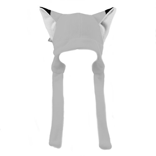 Pawstar Fleece Fox Ears Beanie Hat with Straps - Arctic White ()