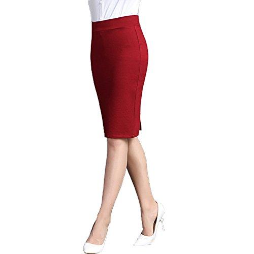 BIUBIONG Jupe Crayon de Bureau Noire Femme Jupe Crayon en Jacquard Extensible et lgante Femme Jupe Crayon Moulante Mi-Longue Extensible pour Bureau Rouge