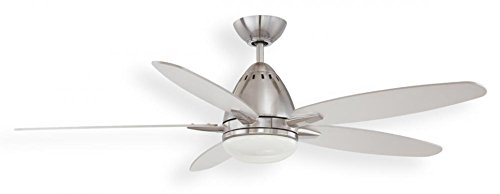 Kendal Lighting AC19452-SN Genisis 52-Inch 5-Blade 2 Light Ceiling Fan, Satin Nickel Finish with Silver Blades and Opal White Glass Light Kit