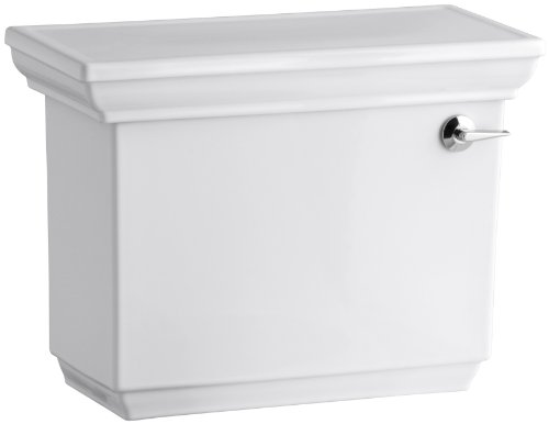 (Kohler K-4434-RA-0 Memoirs 1.28 Gallons Per Flush Toilet Tank with Right-Hand Trip Lever Stately Design, White)