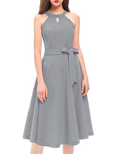 (DRESSTELLS Women's Cocktail Party Dress Bridesmaid Swing Vintage Tea Dress with Cap-Sleeves Grey)