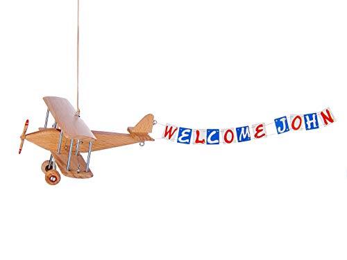 (Hanging Banner Airplane For Children Kid Room Nursery Fly Vintage Decor Beech Wooden)