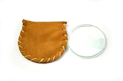 2'' Diameter Small Magnifying Burning Lens in Buckskin Pouch by Primitive Fire