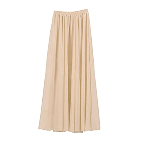 Oudan Jupe Femme en Mousseline de Soie Double Couches Haute Taille Jupe Plisse Longue Taille lastique Couleurs Varies Jupe Patineuse Kaki