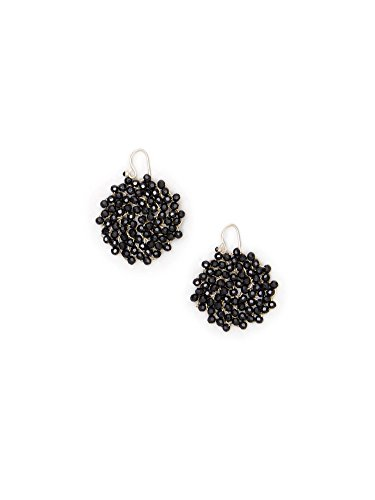 (Kenneth Cole New York Jet Faceted Woven Bead Round Drop Earrings )