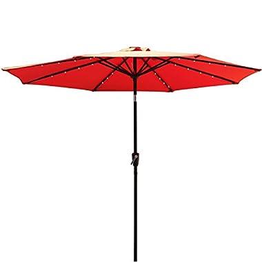 COBANA 9 Ft 32 Solar Powered LED Lighted Outdoor Table Umbrella Aluminum Patio Umbrella, 100% Polyester, Dark Orange