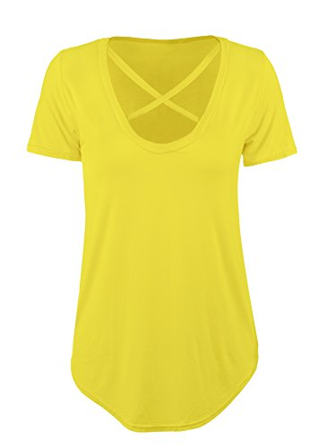 hestya-t-shirt-cross-front-t-shirts-v-neck-short-sleeve-tee-tops-womens-casual-loose-tops-l-size-yel