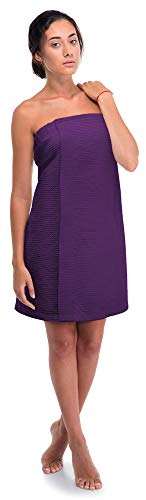 - Women's Waffle Spa Body Wrap with Adjustable Closure (One Size, Purple)