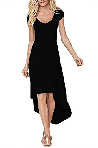 Pink Queen Women's V-Neck Longuette High Low Tight Beach Dresses, Small, Black - Scoop Neck Dress